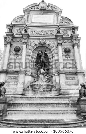The fountain of Saint Michel, Paris, France (Black and white shoot)