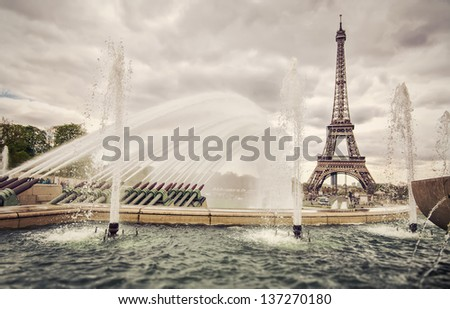 The fountains on place Trocadero in Paris