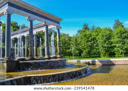 The Fountains Peterhof. Fountain Lion Cascade in Peterhof. The popular tourist attraction places in St. Petersburg and the Leningrad region.