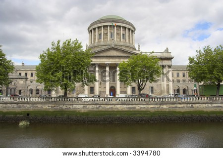The Four Courts along the River Liffey quayside, Dublin, Ireland.