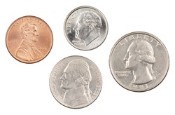 The four most commonly used American Coins. A quarter, dime, nickle, and penny isolated on a white background