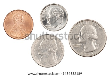 Photo of The four most commonly used American Coins. A quarter, dime, nickle, and penny isolated on a white background