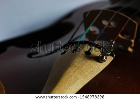 The four strings of a violin with a fine tuner on the e string.