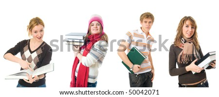 The four young students isolated on a white background