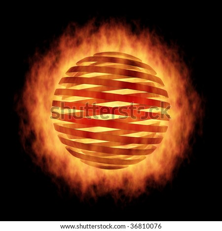 The Fragmentation sphere in fire, on black - stock photo