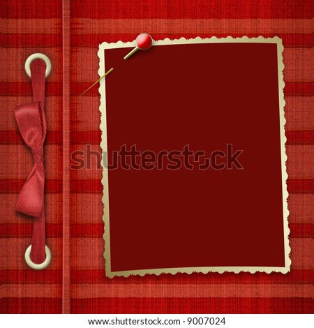 The frame for photos with a bow and a gold pin