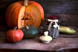 The frame of the gifts of autumn pumpkins, corn, fall leaves, tomatoes, red berry cranberry and grape.