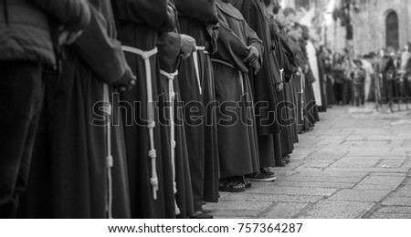 the franciscan order on a friday parade in the old city of jerusalem recreating jesus christ march in the via dolorosa path