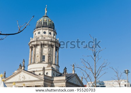 The Franzosischer Dom (French Cathedral) situated on Gendarmenmarkt (the Gendarmes Market) north side at Berlin, Germany