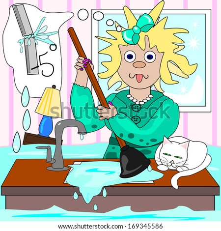 The frazzled plumber.  A frazzled lady is trying to cope with frozen, broken pipes and clogged drains  and the plumber will not be there until Tuesday.