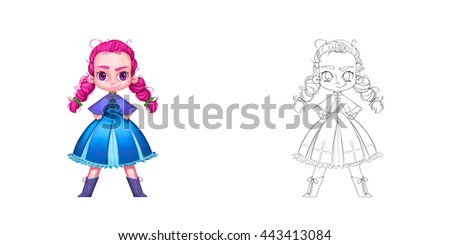 Stock Photo The Freckled Cheeks Red Ponytails Princess. Coloring Book, Outline Sketch, Character Design isolated on White Background