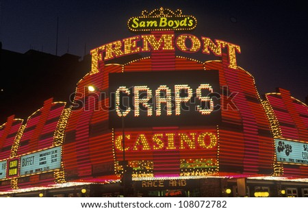 The Fremont Hotel and Casino at night, Downtown Las Vegas, Nevada