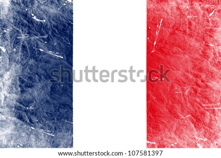 The French flag painted in vintage style