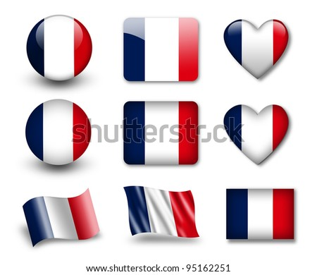 The French flag - set of icons and flags. glossy and matte on a white background.