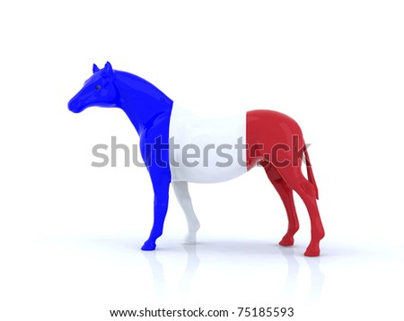 the french horse 3d illustration