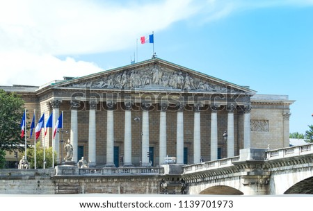 The French national Assembly-Bourbon palace the lower house of the parliament , Paris, France. #1139701973