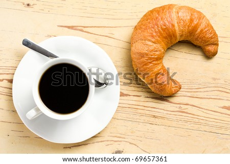 the fresh croissant with coffee