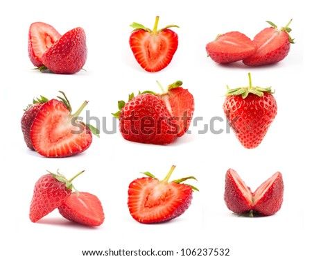 The fresh cut strawberries set on a clear white background