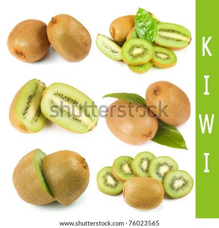 The fresh kiwi isolated on white background