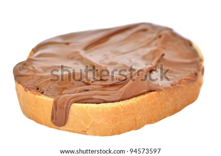 The fresh white bread with chocolate paste
