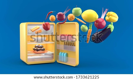 The fridge opened, with vegetables floating out. on the blue background.-3d rendering.