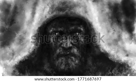 The frightening face of a man in hood. Black and white illustration in horror fantasy genre with coal and noise effect. Foto stock ©