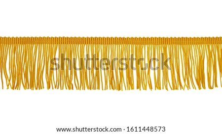 The fringe is yellow. Isolated on a white background. Decor, design, decoration, texture. Stockfoto ©