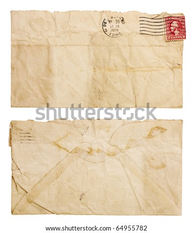 The front and back of a blank, envelope with frayed edges that is torn open at the top and heavily creased and wrinkled. Isolated on white and includes clipping path.