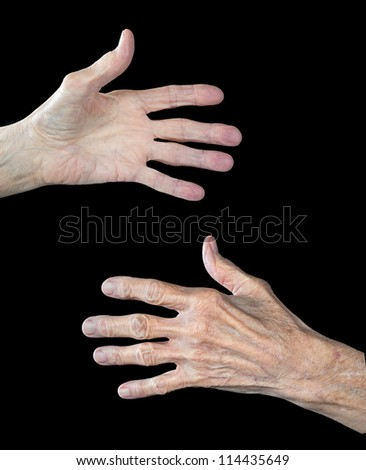 The front and back of an elderly woman's hands.  The subject has arthritis and shows clear signs of aging.