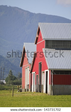 The front area of farm buildings in a mountain valley/Farm Buildings/The frontal or face of farm buildings.