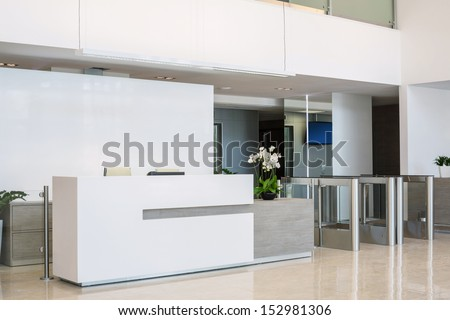 The front desk at a business center in a modern style Stock photo ©