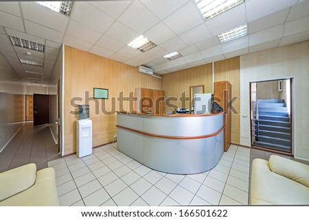 The front desk in a modern office building