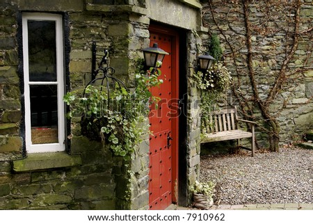 The front door to a cottage in the Lake District.