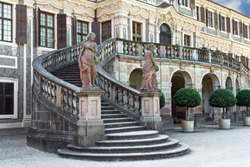 The front entrance to  Favorite Castle was built by Johann Michael Ludwig Rohrer 1710 1730 in Rastat. Germany.