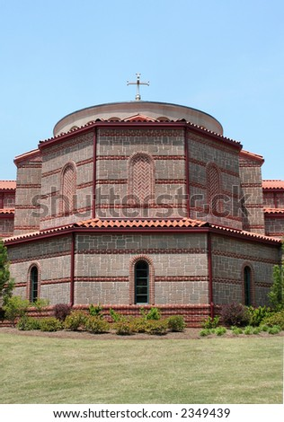 The front facade of a Greek Orthodox church.