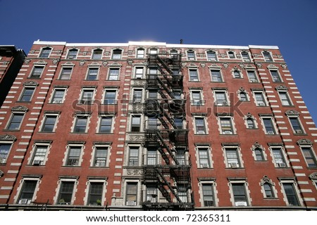 The front of a famous apartment building in New York City. - stock photo