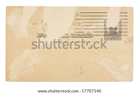 The front of a heavily distressed vintage plain United States postcard from early 1900s with one-cent postage. Dirt and creases. Isolated on white with clipping path.