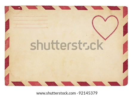 The front of an vintage Valentine-themed envelope with red striped border. Isolated on white with clipping path.