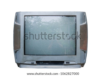 The front of the Old television isolated on white background.