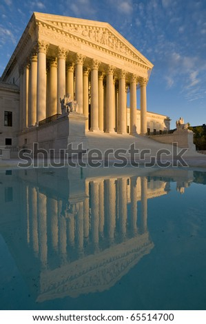 The front of the US Supreme Court in Washington, DC, at dusk. Completed in 1935, the US Supreme Court building in Washington, DC, is the first to have been built specifically for the purpose. #65514700