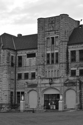The front view of the old Missouri State Penitentiary in black and white