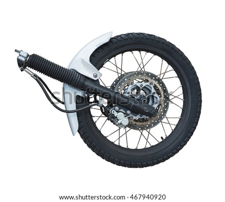 the front wheel of a motorcycle isolated on the white background #467940920