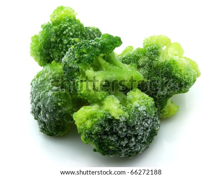 The frozen cabbage broccoli on a white background - stock photo