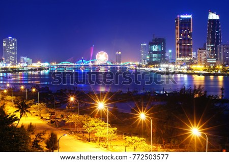 The full view of the Da Nang city at night. You can see this splendid scenery by standing on the Thuan Phuoc bridge.