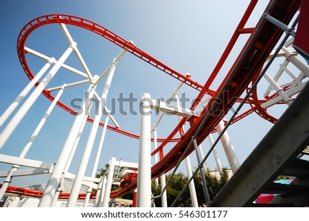 The funny and extreme activity roller coaster in the wonderland or theme park or Disneyland