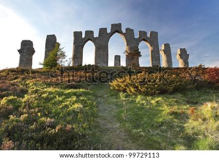 The Fyrish monument from fyrish hill in Evanton, Scotland