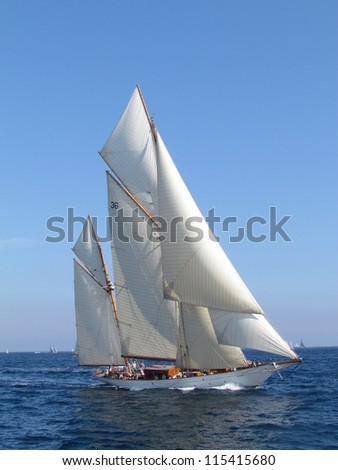 The Gaff Ketch are two masts and the sails are square The taller mast forward is known as the mainmast This one was in the regatta the Sails of St Tropez