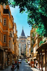 The Galata Tower is a medieval stone tower in the Karaköy quarter of Istanbul in Turkey. The famous place with a great view of the Istanbul.