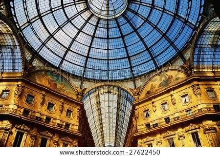 The Galleria Vittorio Emanuele II. The dome above arcades. Shopping Center in Milan, Italy.
