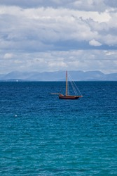 The Galway hooker on the Atlantic Ocean close to the Aran Islands, in Ireland.